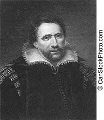 Ben Jonson (1572-1637) on engraving from the 1800s. English...
