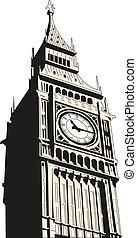 ben, klocka, stor, -, hus, london, torn, parlament