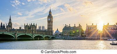 ben, klok, groot, panoramisch, ondergaande zon , londen, toren, aanzicht