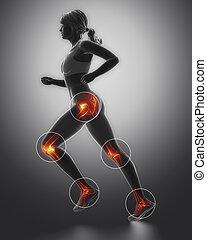 ben, knä, såradt, regoins, sport, -, ankel, höft, mest