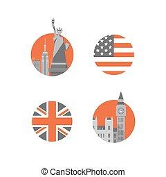 ben, langue, grand, anglaise, britannique, education, américain, statue, tour, international, york, nouveau, londres, liberté