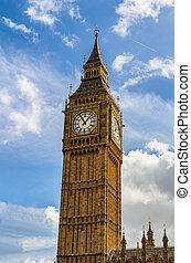 ben, londres, grande, uk., londres, vista, popular, señal, torre de reloj, ben., conocido