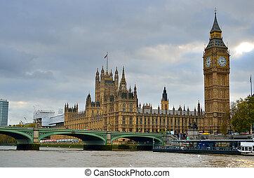 ben, nagy, épület, uk, parlament, london