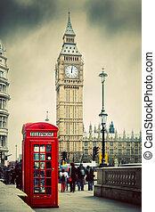 ben, nagy, telefon, anglia, uk., bódé, london, piros
