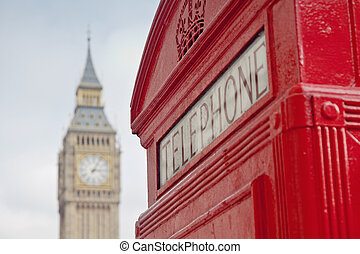 ben, nagy, telefon, london, bódé, piros