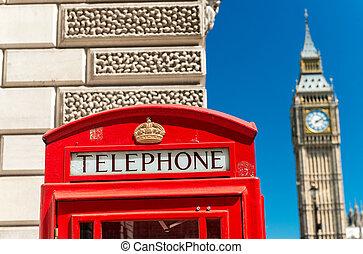 ben, nagy, telefon, utca, london, bódé, piros