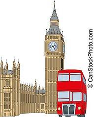 ben, orologio, grande, -, autobus, torre, rosso