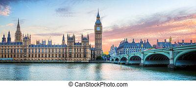 ben, palacio, grande, londres, westminster, thames, reino unido, panorama., río, ocaso
