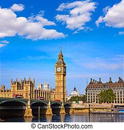 ben, reloj, grande, thames, londres, torre, río