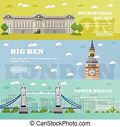 ben, turysta, pałac, buckingham, cielna, banners.,...