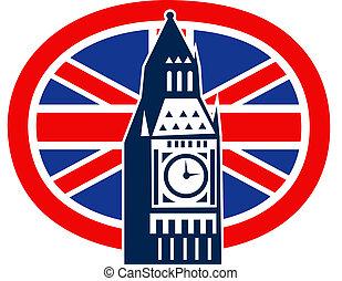 ben, unión, grande, bandera inglesa, londres, gato