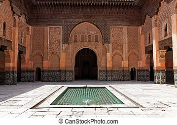 The courtyard of Ben Youssef Madrasa in Marrakech, a former Islamic school.