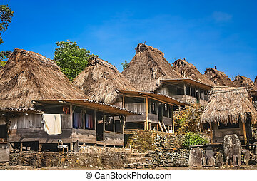 Bena Village In Flores Small Old Wooden Huts In The