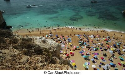 Benagil Beach panorama - Aerial panorama of golden cliffs of...