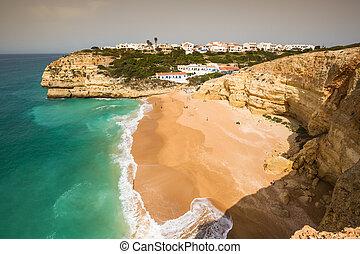 benagil, portugal, de, praia, atlántico, algarve, costa,...