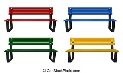 Bench - 3d render of garden benches isolated over white ...