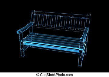 Bench 3D xray blue transparent