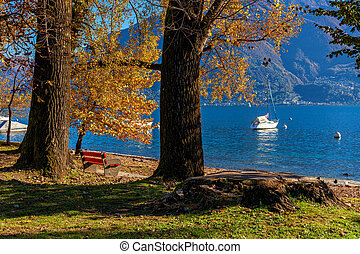 Red bench among among trees with autumnal foliage and yacht on Lake Maggiore on background in town of Locarno, Switzerland.
