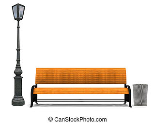 Bench and street lamp - Illustration of 3d yellow park bench...
