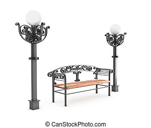 Bench and two lamps on a white background.