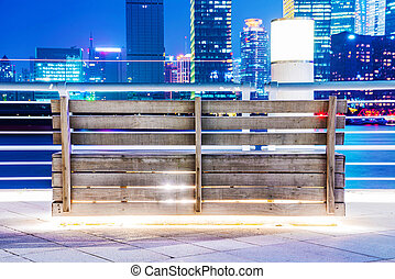Bench at night in Shanghai