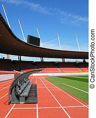 Bench at soccer stadium