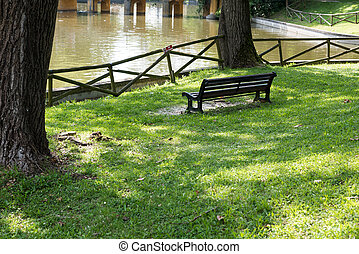 Bench at the lake shore