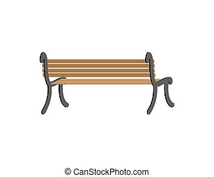 Bench Back View Wooden Park Isolated On White Background