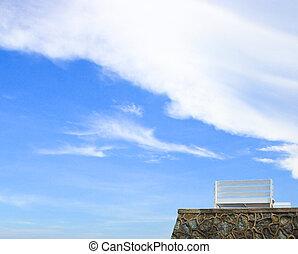 Bench beach with blue sky