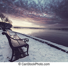 Bench - bench in winter