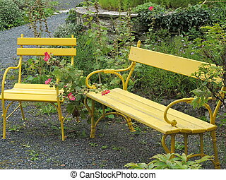 Benches in the park of a castle in Austria