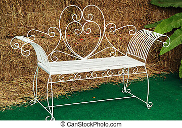 Bench chair white in the park