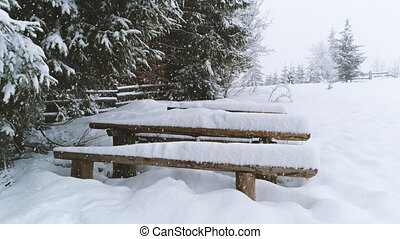 Bench covered in snow while more snow falls. - Winter ...