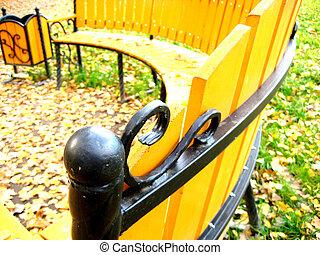 Bench element in park