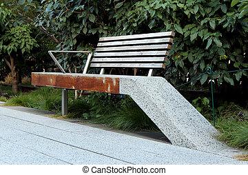 (bench, erhöht, hoch, fußgänger, papa, york, neu , city.,...