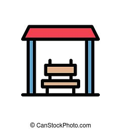 bench flat color icon