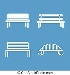 Bench icon blue set vector