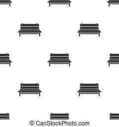 Bench icon in black style isolated on white background. Park pattern stock vector illustration.