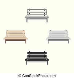 Bench icon in cartoon, black style isolated on white background. Park symbol stock vector illustration.