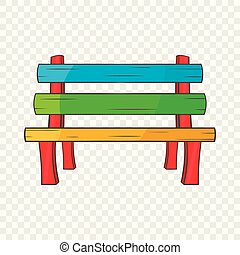 Bench icon in cartoon style isolated on background