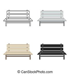 Bench icon in cartoon style isolated on white background. Park symbol stock vector illustration.