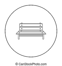 Bench icon in outline style isolated on white background. Park symbol stock vector illustration.