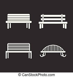 Bench icon set grey vector