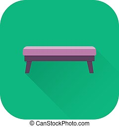 Bench icon. Vector. Flat design with long shadow.