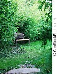 Bench in a japanese garden
