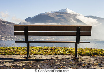 bench in front of a lake