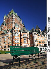 Chateau Frontenac, Quebec City. - Bench in front of Chateau ...
