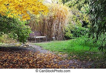 Bench in japanese garden