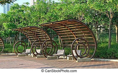 bench in park , city
