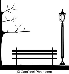 Bench in park with tree and streetlamp. City park landscape.